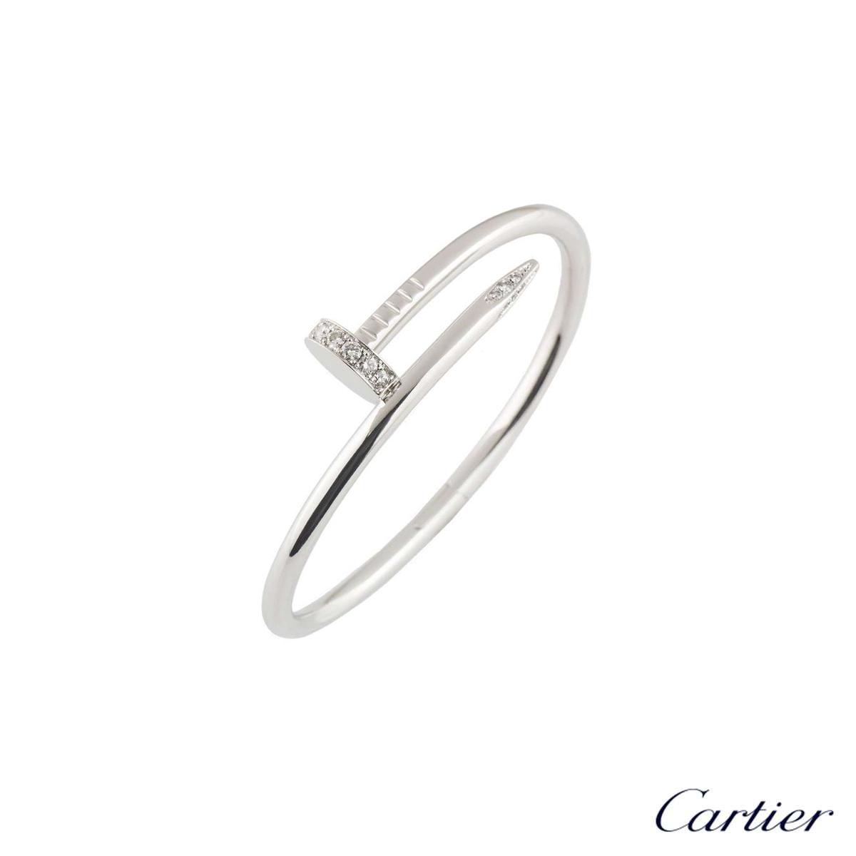 Cartier White Gold Diamond Juste Un Clou Bracelet Size 16 B6037916